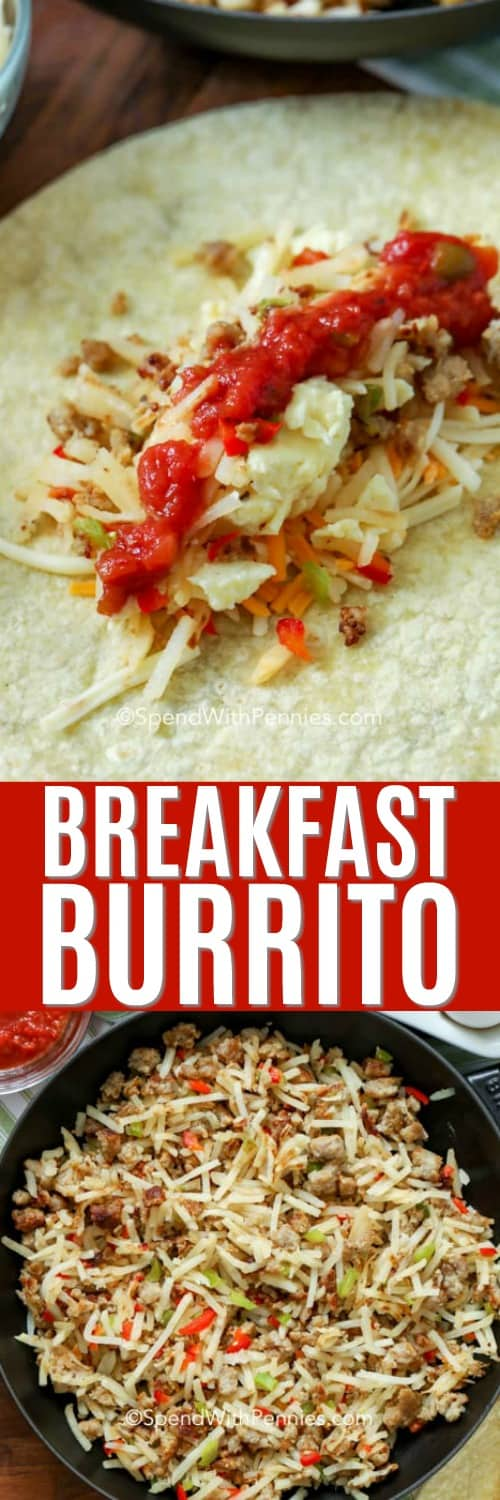 Breakfast burrito ingredients in a pan and breakfast burrito ingredients on a tortilla shell with a title