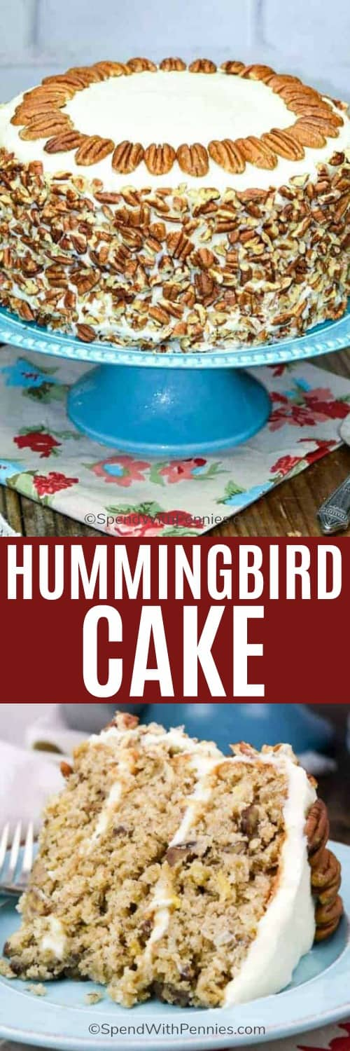 Hummingbird cake on a cake tray and on a plate with a title