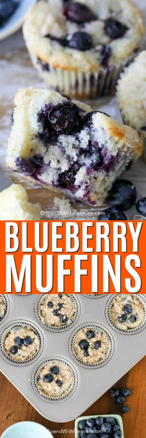 Blueberry muffins in a muffin tin and on a wooden board with a bite taken out of one and a title