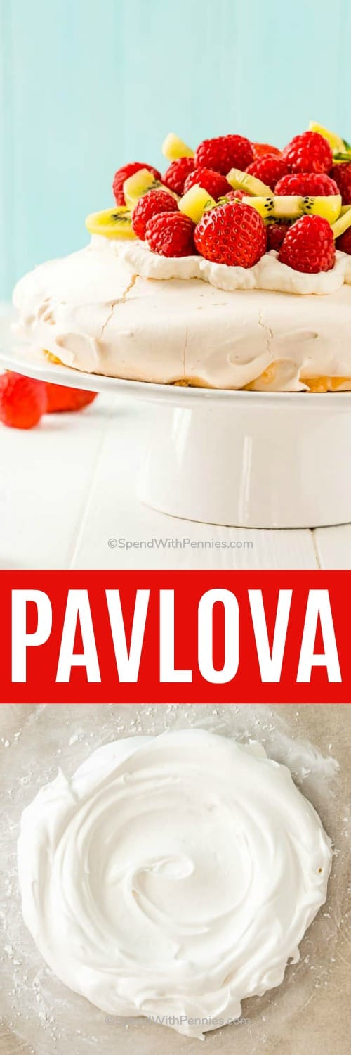 Pavlova on a plate and on parchment paper with writing