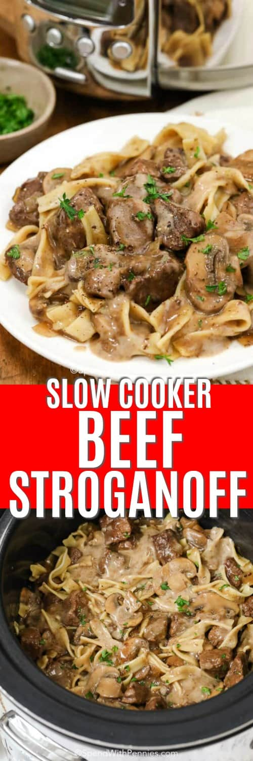 Slow cooker beef stroganoff in a slow cooker and on a plate with a title