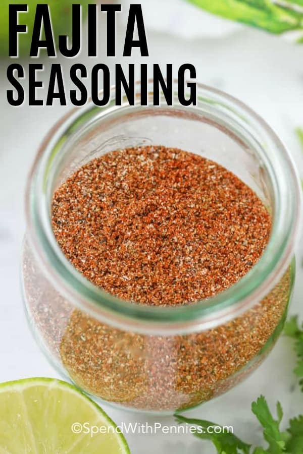Fajita Seasoning in a jar with limes shown with a title