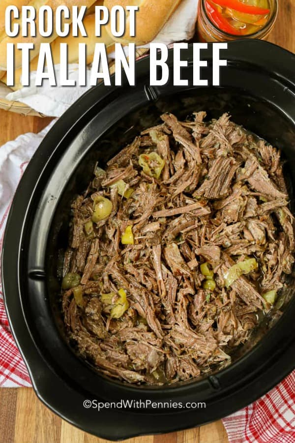 Italian Beef shredded in a crockpot.