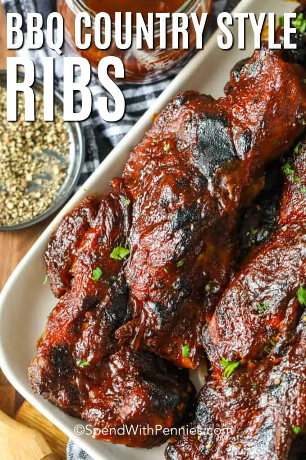 Country Style Ribs on a plate, garnished with parlsey.