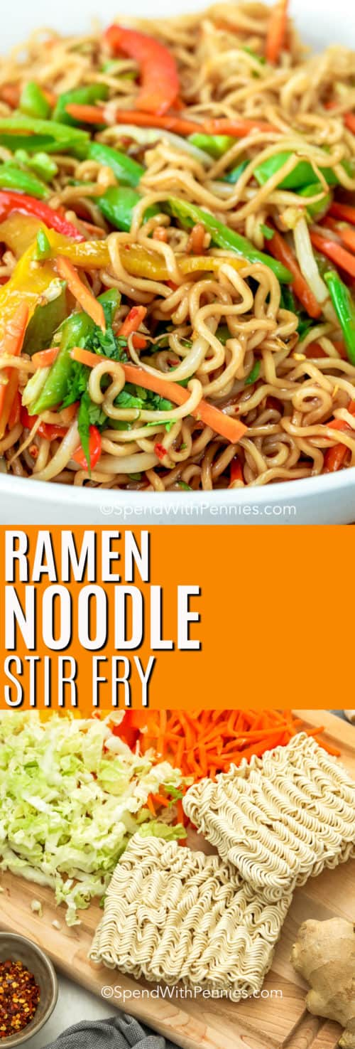 Ramen noodle stir-fry in a white bowl and ingredients for ramen noodle stir-fry on a wooden board with a title