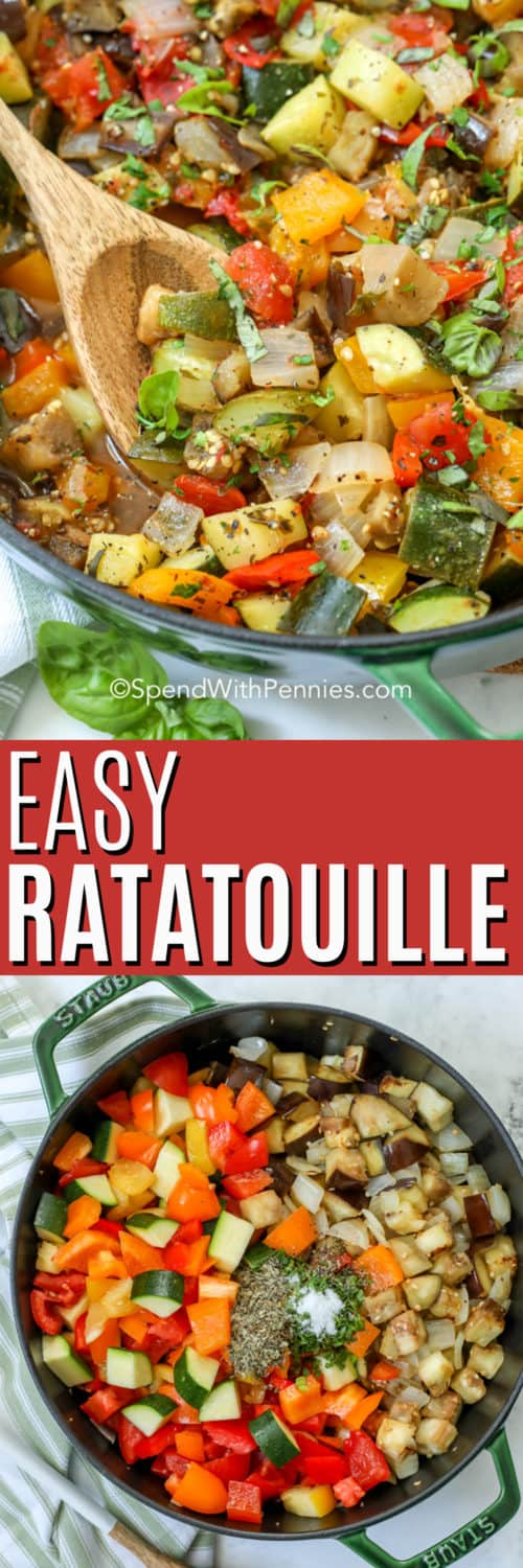 Top image - close up of ratatouille cooking in a skillet. Bottom image - Ratatouille ingredients in a skillet.