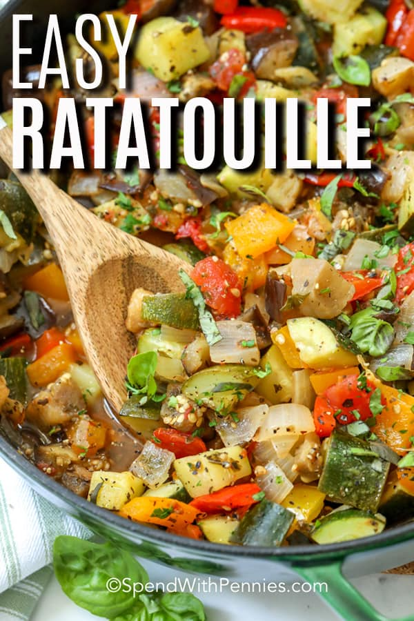 Close up of Ratatouille cooking in a skillet.