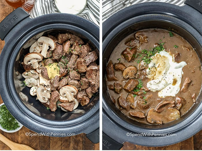Browned beef and mushrooms in a crock pot and mixing the sauce for beef stroganoff with sour cream in a slow cooker
