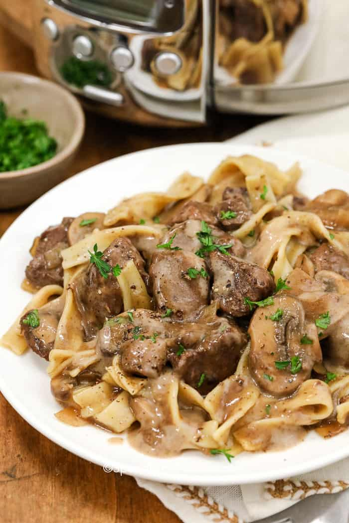A plate of beef stroganoff made in the slow cooker