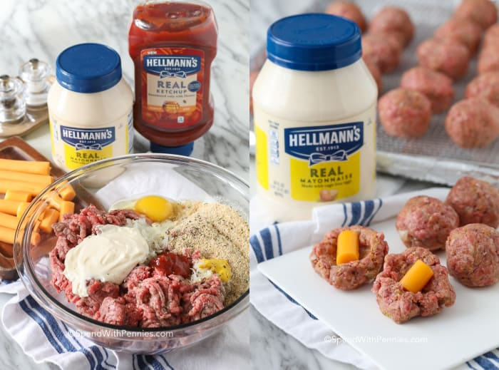 To images showing the ingredients for cheeseburger stuffed meatballs in a bowl, and how to stuff the meatballs.