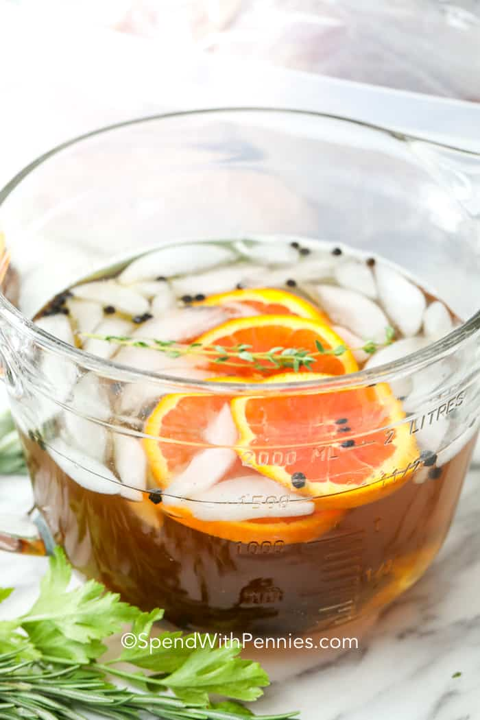 Turkey brine in a glass container