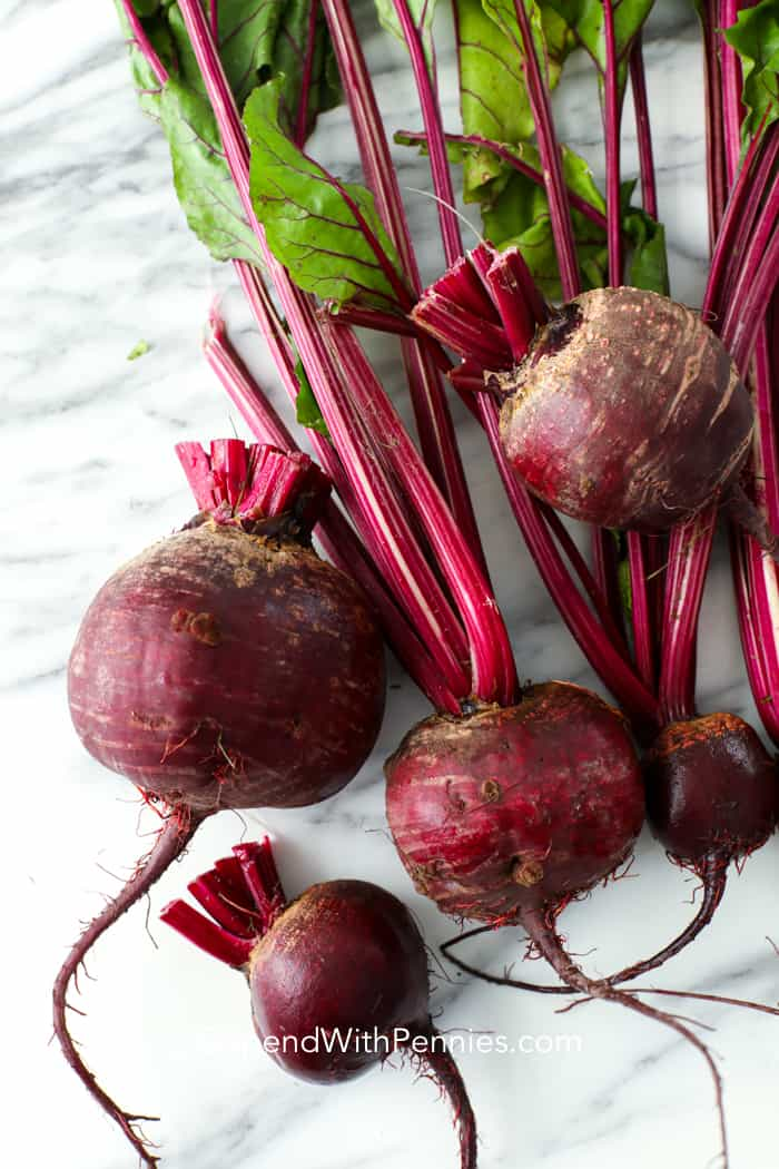 Close up of beets on a counter.