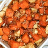 closeup of sweet potato and apple casserole