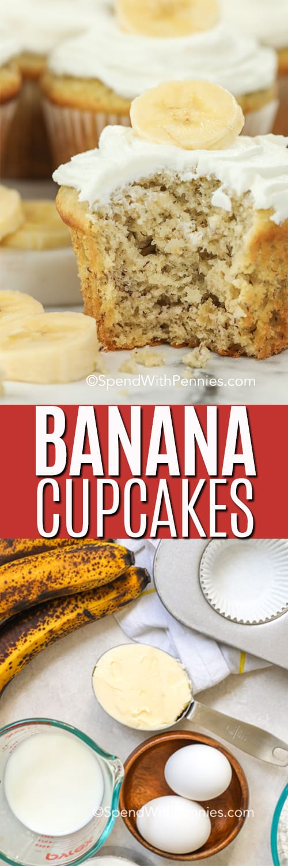 Top image - banana bread topped with banana slices. Bottom image - banana bread ingredients