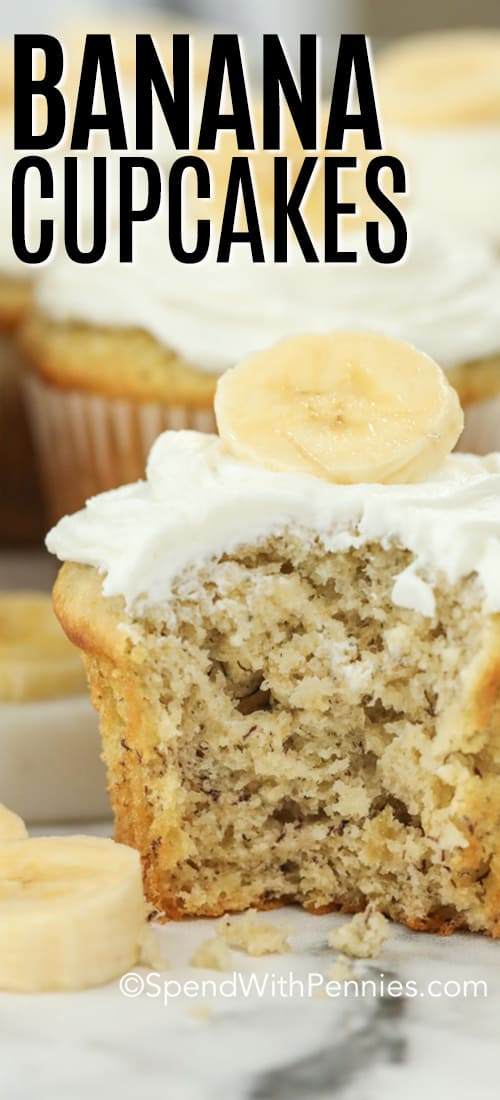 Banana cupcakes with icing with writing