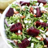 Beet Salad with Goat Cheese in a bowl