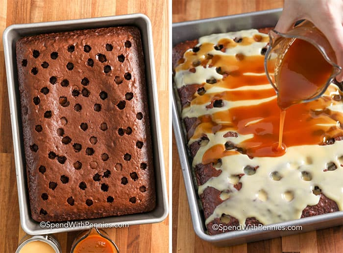 Two images showing the cake with holes being poked into it and then topped with caramel sauce and condensed milk.