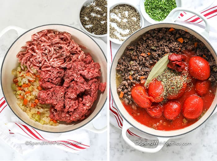 Left image - cooked veggies and meat being browned in a pot. Right image - all ingredient in the pot to simmer down.