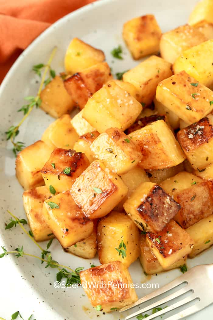 Roasted rutabaga in a serving dish.