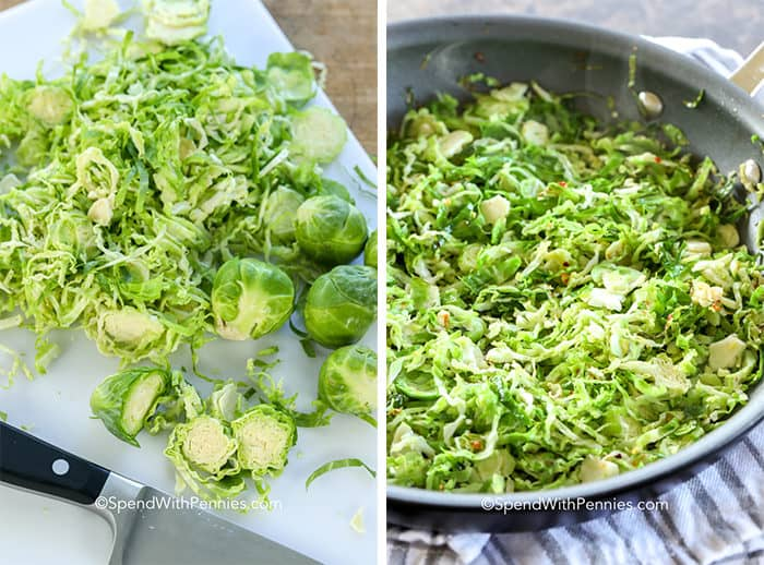 Brussel sprouts on a cutting board and in a pan