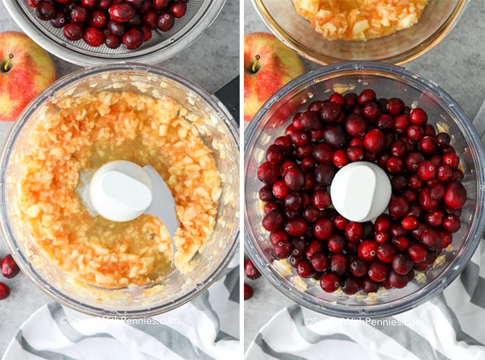 Left image is apples in a food processor and right image is cranberries in a food processor