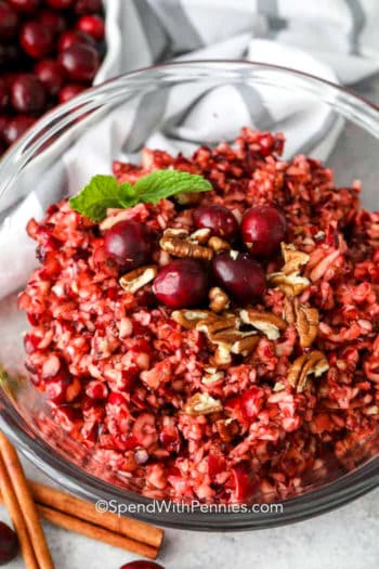 Cranberry relish in a clear Bowl
