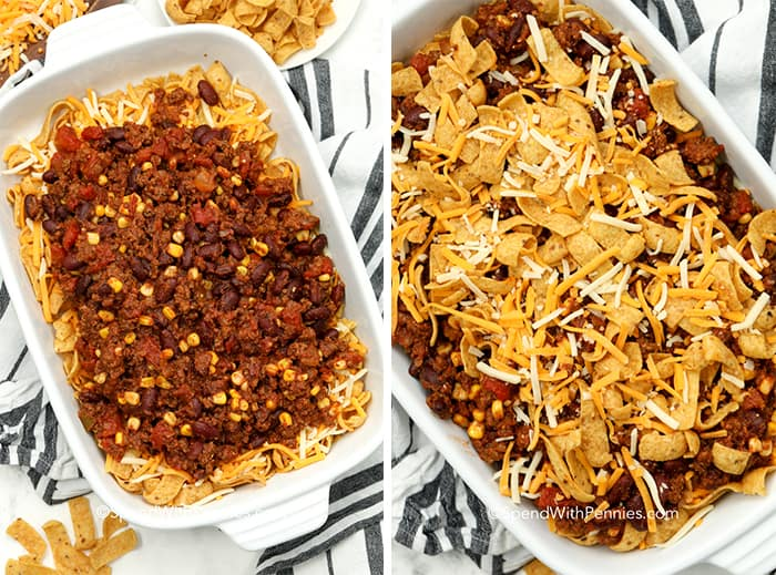 Two images showing how to layer the frito pie in the casserole dish.