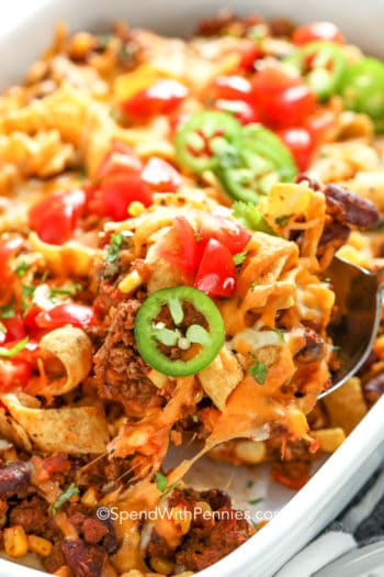 frito pie with toppings closeup after cooking