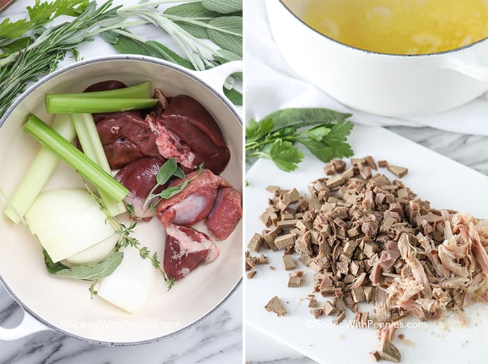 Left image - giblets, celery and onions in a pot to make the stock. Right image - cooked giblets chopped on a cutting board.