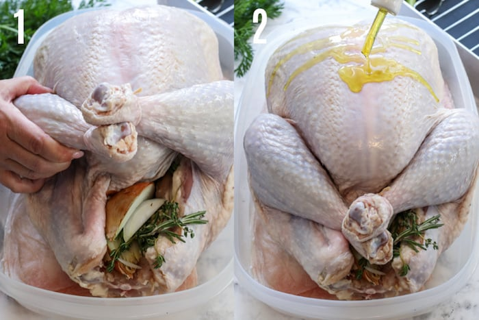 two images of prepping turkey for the oven, one prepping the legs and the other pouring oil over top