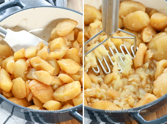 Two images showing prepared apples being mashed with a masher.