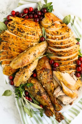sliced pieces of turkey on a plate for how to carve a turkey