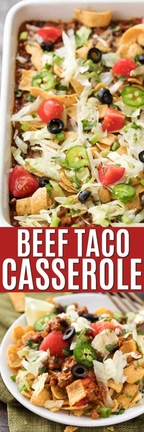 Beef Taco Casserole in a pan and in a bowl