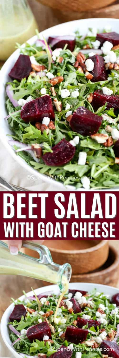 Beet Salad with goat cheese with dressing being poured on with writing