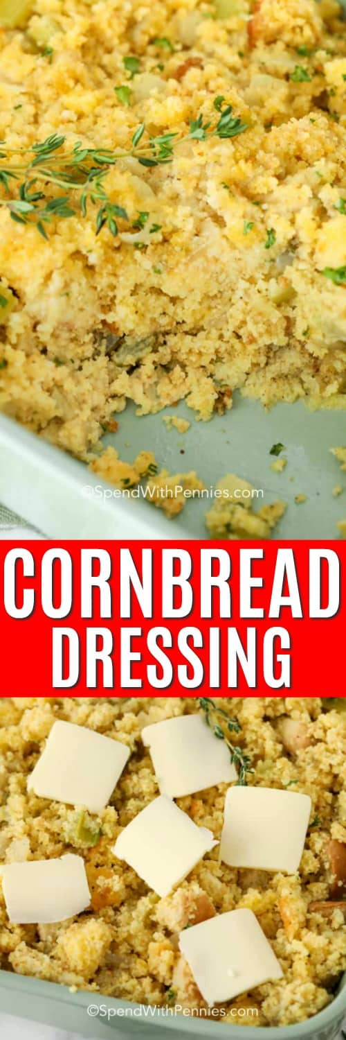 Cornbread Dressing in a casserole dish, cornbread dressing with butter on top ready for the oven