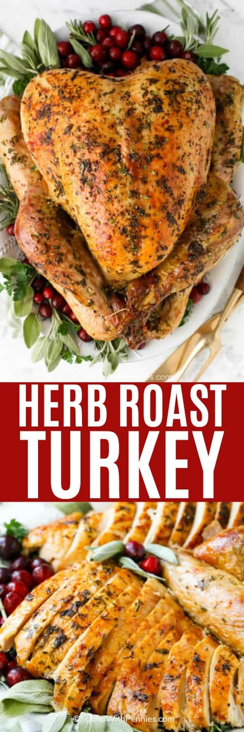whole herb roast turkey, and sliced roast turkey