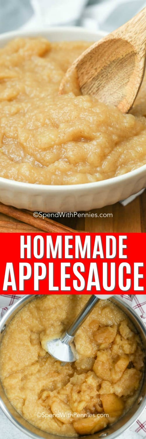 Homemade applesauce ingredients in a pot with an immersion blender and homemade applesauce in a bowl with a wooden spoon and a title