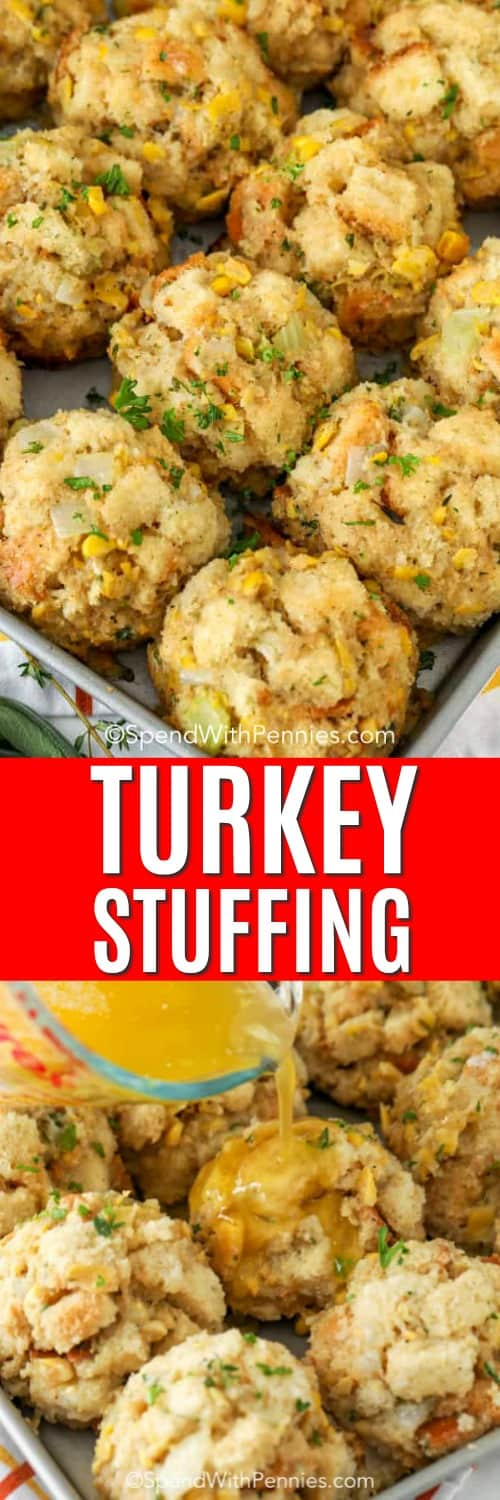 Turkey stuffing in a baking sheet with butter being poured on and a title