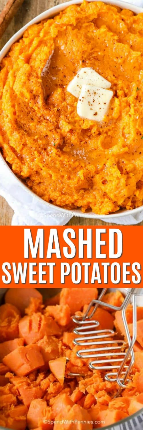Top photo - A bowl of mashed sweet potatoes with melted butter. Bottom photo - Peeled and chunked sweet potatoes ready to be boiled for mashed sweet potatoes.
