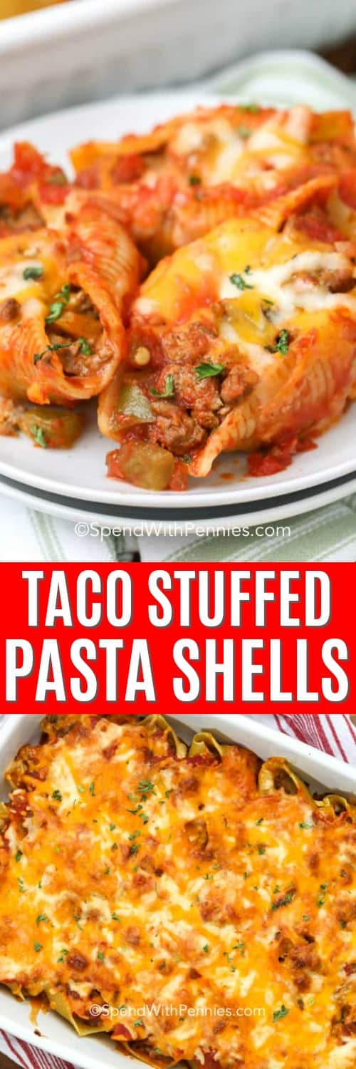 Top Photo - Taco Stuffed Pasta Shells served on a white plate. Bottom photo - Pasta shells in a casserole dish.