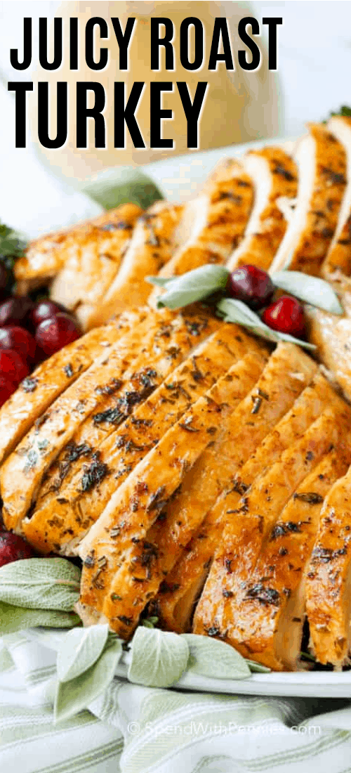 Sliced roasted turkey on a platter with fresh herbs and cranberries and gravy