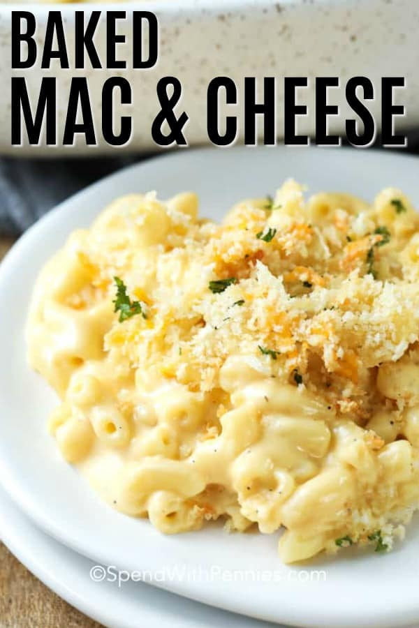 A plate of oven baked mac and cheese topped with bread crumbs.
