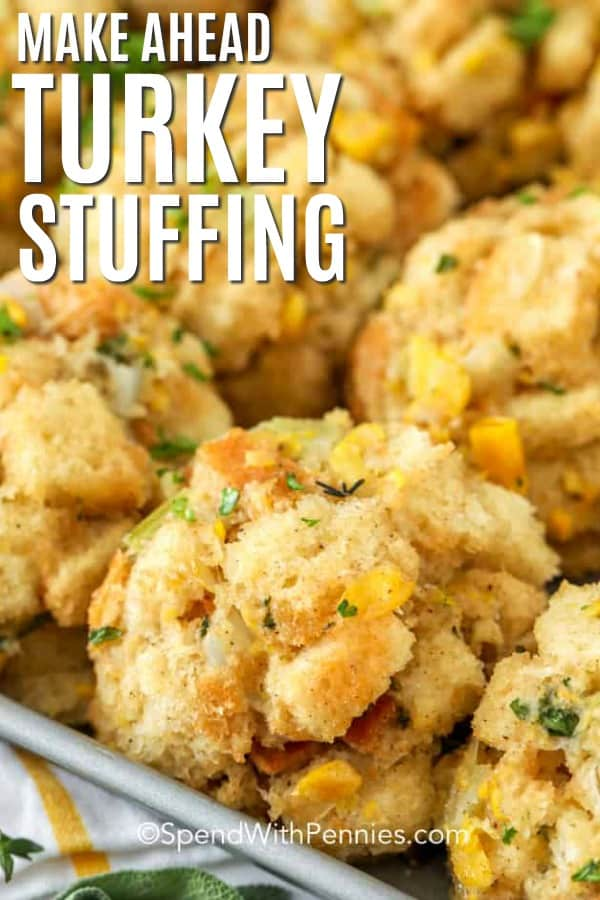 Turkey stuffing on a sheet pan with a title