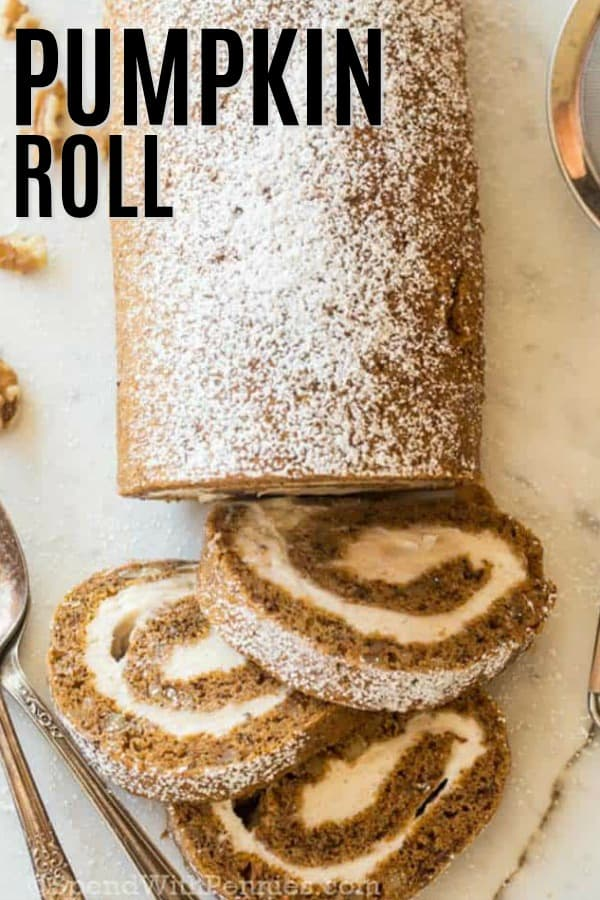 overhead of pumpkin roll with slices of pumpkin roll