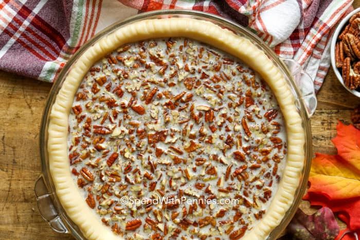 Overview of an unbaked pecan pie.