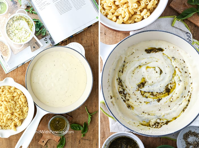 Two images showing the steps to create the pesto mac and cheese sauce.