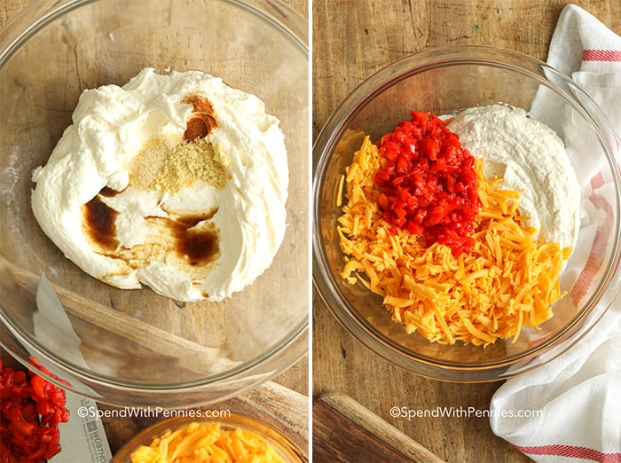 Pimento cheese spread ingredients in a clear Bowl