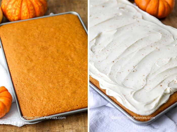 Left image - baked pumpkin cake. Right image - pumpkin cake frosted with a cream cheese icing.