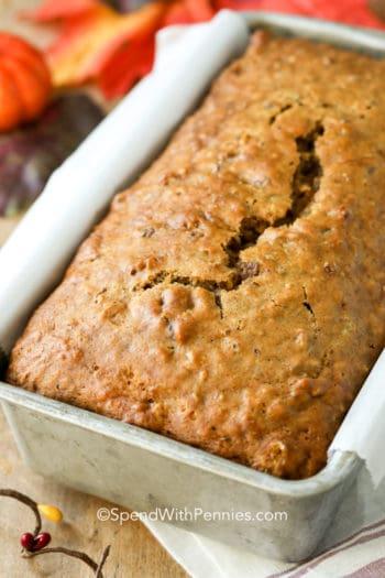 Pumpkin bread in a loaf pan