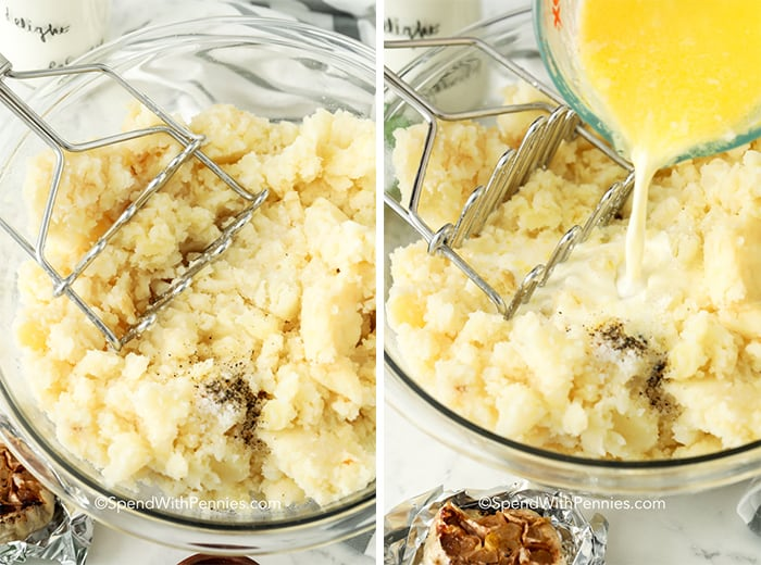 Two images showing garlic mashed potatoes before and while melted butter and heavy cream are being poured in.